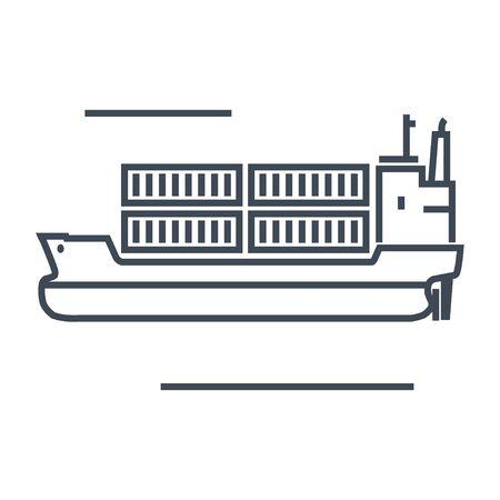Thin line icon container ship Stock Illustratie