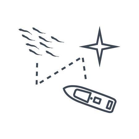 Thin line icon fishing vessel, trawler, seiner fish school detection and location