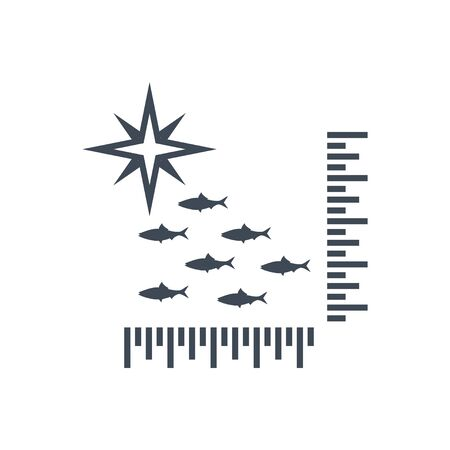 Thin line icon fishing, fish school detection and location
