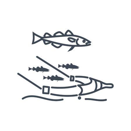 Thin line icon cod in a fishing net, trawl