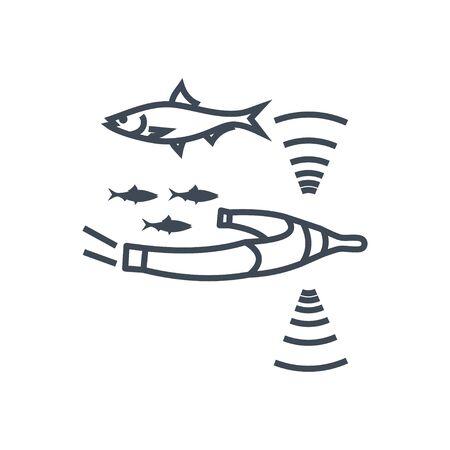 Thin line icon herring in a fishing net, trawl