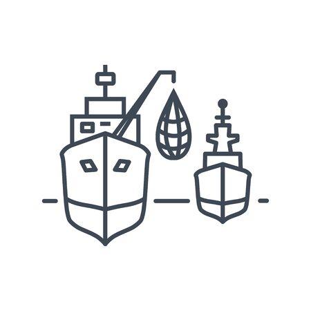 Thin line icon fishing vessel, trawler, seiner