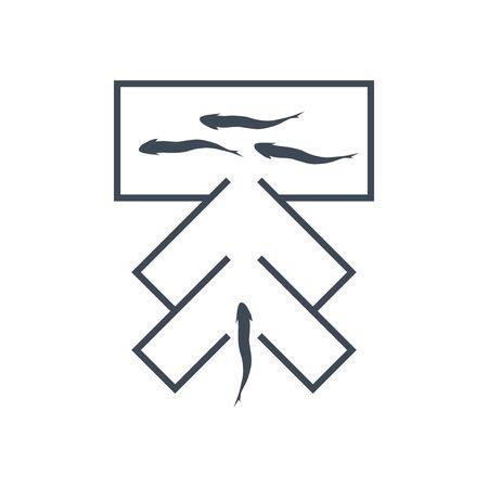 Thin line icon fishing, fish trap