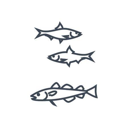 Thin line icon fish, cod and herring