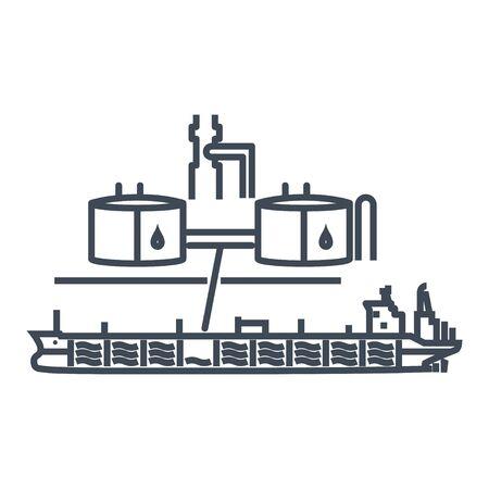 Thin line icon oil tanker, port terminal