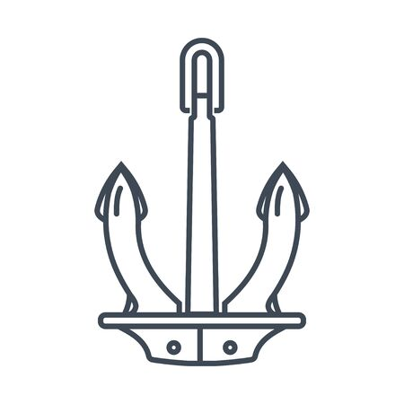Thin line icon anchor of a ship