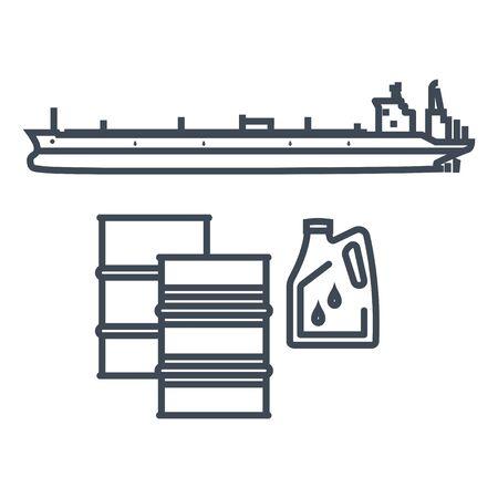 Thin line icon dry cargo ship, bulk carrier, tanker