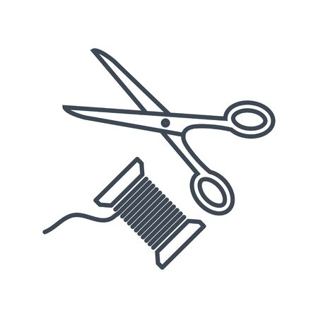 Thin line icon clothing, garment industry, scissors and spool of thread Stock Illustratie