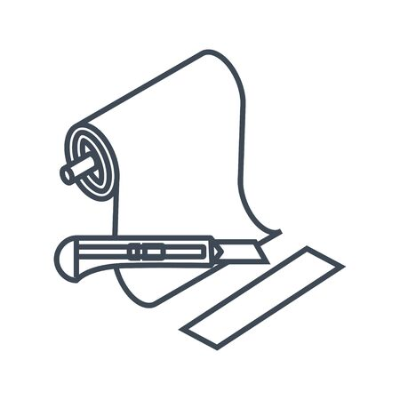 Thin line icon clothing, garment industry, cutting roll of fabric