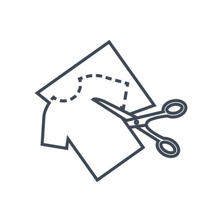 Thin line icon garment industry, sewing clothes pattern, scissors Stock Illustratie