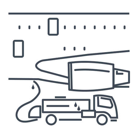 Thin line icon passenger airplane on service, maintenance  イラスト・ベクター素材