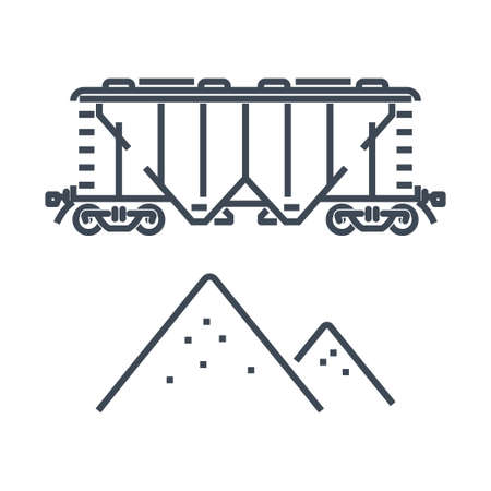 Thin line icon rail transport, railway, railroad freight hopper car