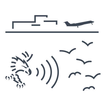 Thin line icon airport aviation safety, bird strike, playing recorded sounds of predators, falcon