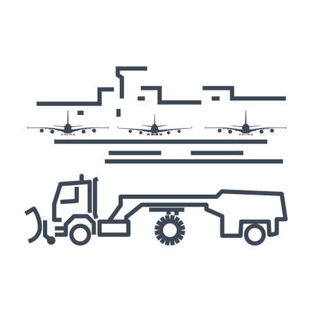 Thin line icon airport terminal, sweeper, runway service, maintenance
