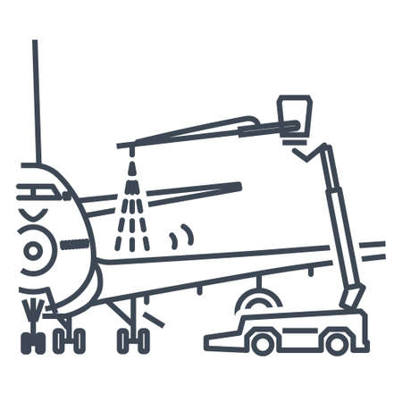 Thin line icon airport aviation safety, airplane maintenance service, deicing, anti-icing  イラスト・ベクター素材