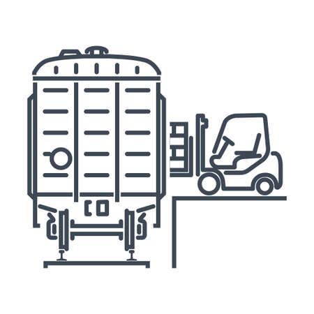 Thin line icon rail transport, railway, railroad freight car, wagon, pallet loading by forklift  イラスト・ベクター素材