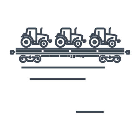 Thin line icon freight rail transport, railway, autorack, auto carrier, transporter, tractor  イラスト・ベクター素材
