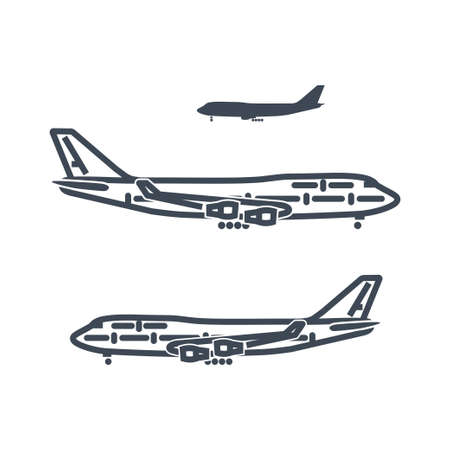 Thin line icon passenger airplane flying  イラスト・ベクター素材