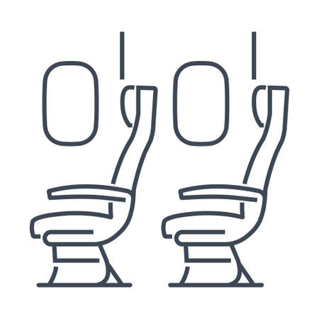 Thin line icon airplane airline seats in the cabin, windows and chair