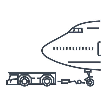 Thin line icon airplane towing tractors