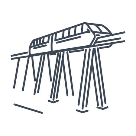 Thin line icon passenger rail transport, railway, monorail train