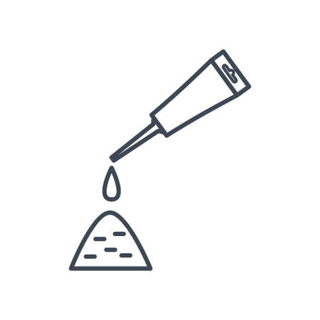 Thin line icon putting glue, sealant from a tube  イラスト・ベクター素材