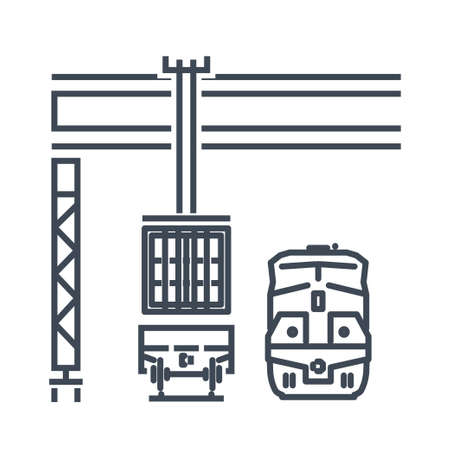 Thin line icon container crane loading on railway, railroad freight car, wagon, locomotive
