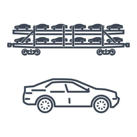 Thin line icon freight rail transport, railway, autorack, auto carrier, transporter, car