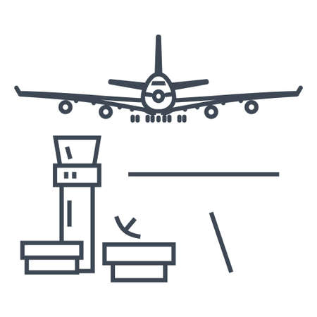 Thin line icon airport control tower, passenger airplane is taking off or landing  イラスト・ベクター素材