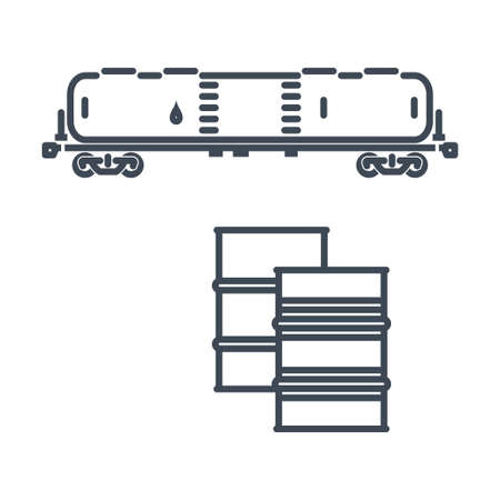 Thin line icon freight rail transport, railway, tank car, wagon  イラスト・ベクター素材
