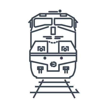 Thin line icon freight and passenger rail transport, railway, train, locomotive