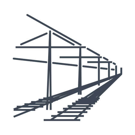 Thin line icon freight and passenger rail transport, electrified railway, railroad  イラスト・ベクター素材