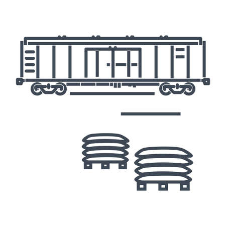 Thin line icon rail transport, railway, railroad freight car, wagon, pallet  イラスト・ベクター素材