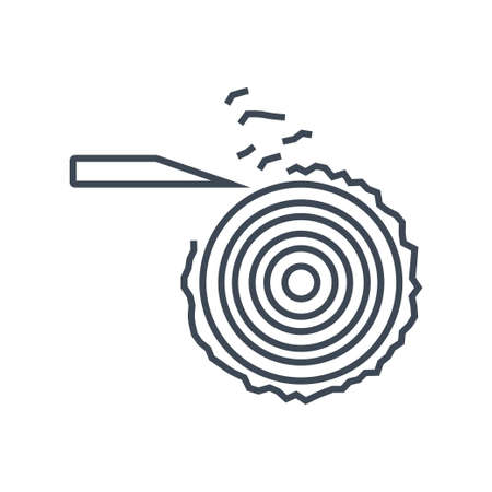 Thin line icon turning lathe, machine for shaping wood, cutting tool, removing bark Ilustración de vector