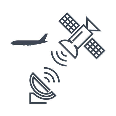 Thin line icon airplane radar, antenna, satellite dish