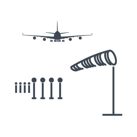 Thin line icon airport, runway lighting, weather vane