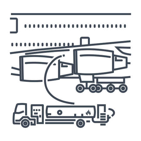 Thin line icon refueling operation of passenger airplane, fuel truck