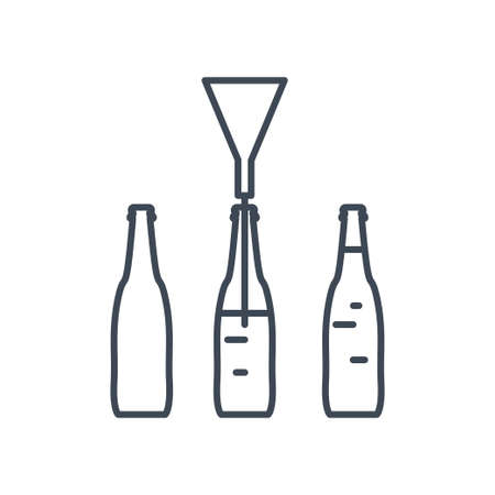 Thin line icon beverages industry, bottling, pouring drinks, conveyor  イラスト・ベクター素材