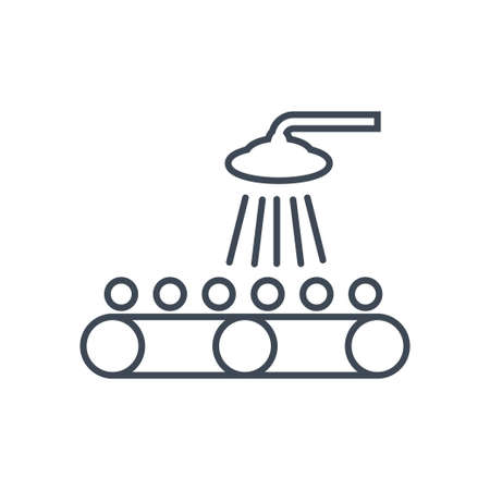 Thin line icon washing and cleaning fruits and vegetables, factory conveyor  イラスト・ベクター素材