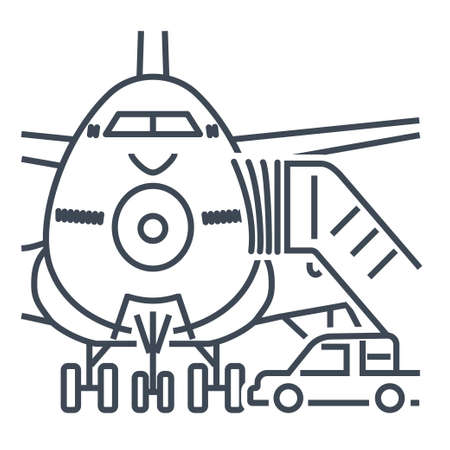 Thin line icon passenger airplane, ladder to the entrance of the aircraft, gangway  イラスト・ベクター素材