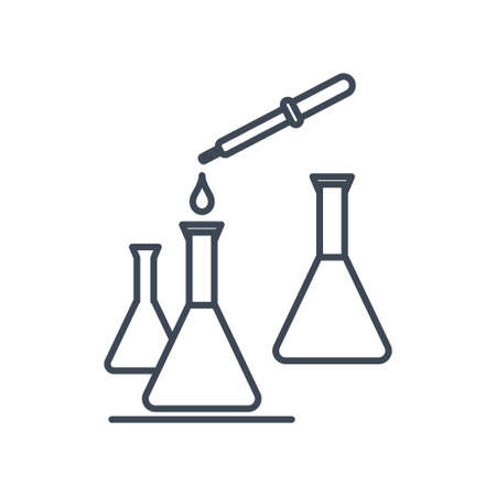 Thin line icon chemical laboratory equipment, pipette and flask