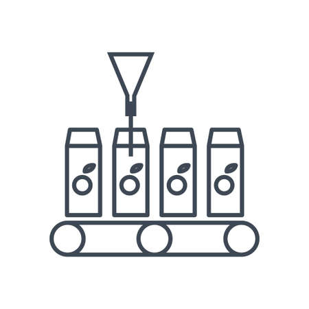 Thin line icon beverages industry, bottling juice, packing conveyor  イラスト・ベクター素材