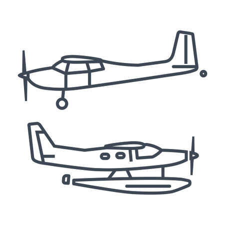 Thin line vector icon private airplane, seaplane, hydroplane  イラスト・ベクター素材