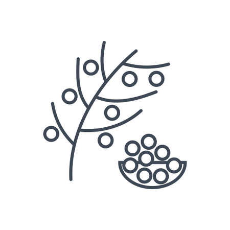Thin line icon harvesting fruit, tree