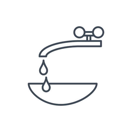 Thin line icon pouring water from tap