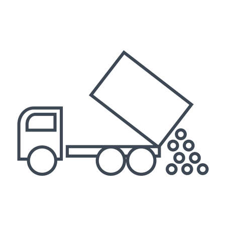 Thin line icon unloading from a dump truck, tipper