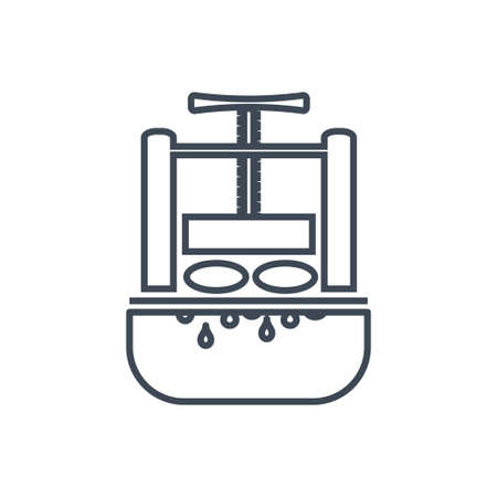 Thin line icon juice extractor, machine press  イラスト・ベクター素材