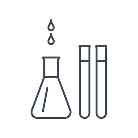 Thin line icon chemical laboratory equipment, beverages and food, medical industry, flask, test tube
