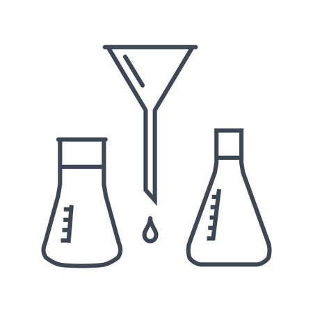 Thin line icon chemical laboratory equipment, beverages and food, medical industry, volumetric flask, funnel Stock Illustratie