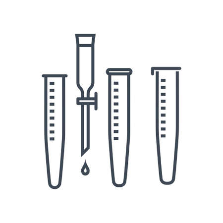 Thin line icon chemical laboratory equipment, beverages and food, medical industry, test tube, dropper 向量圖像